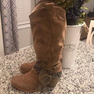 SO Tan Suede Cowboy Boots (Size 11) Wide Calf